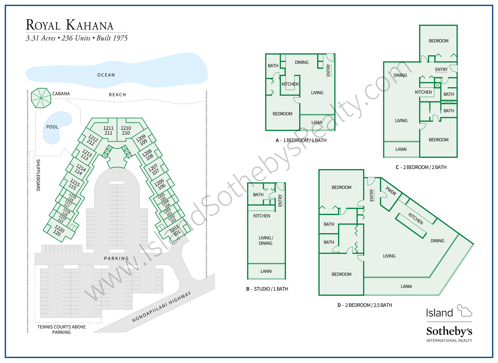 Royal Kahana Map and Floor Plans