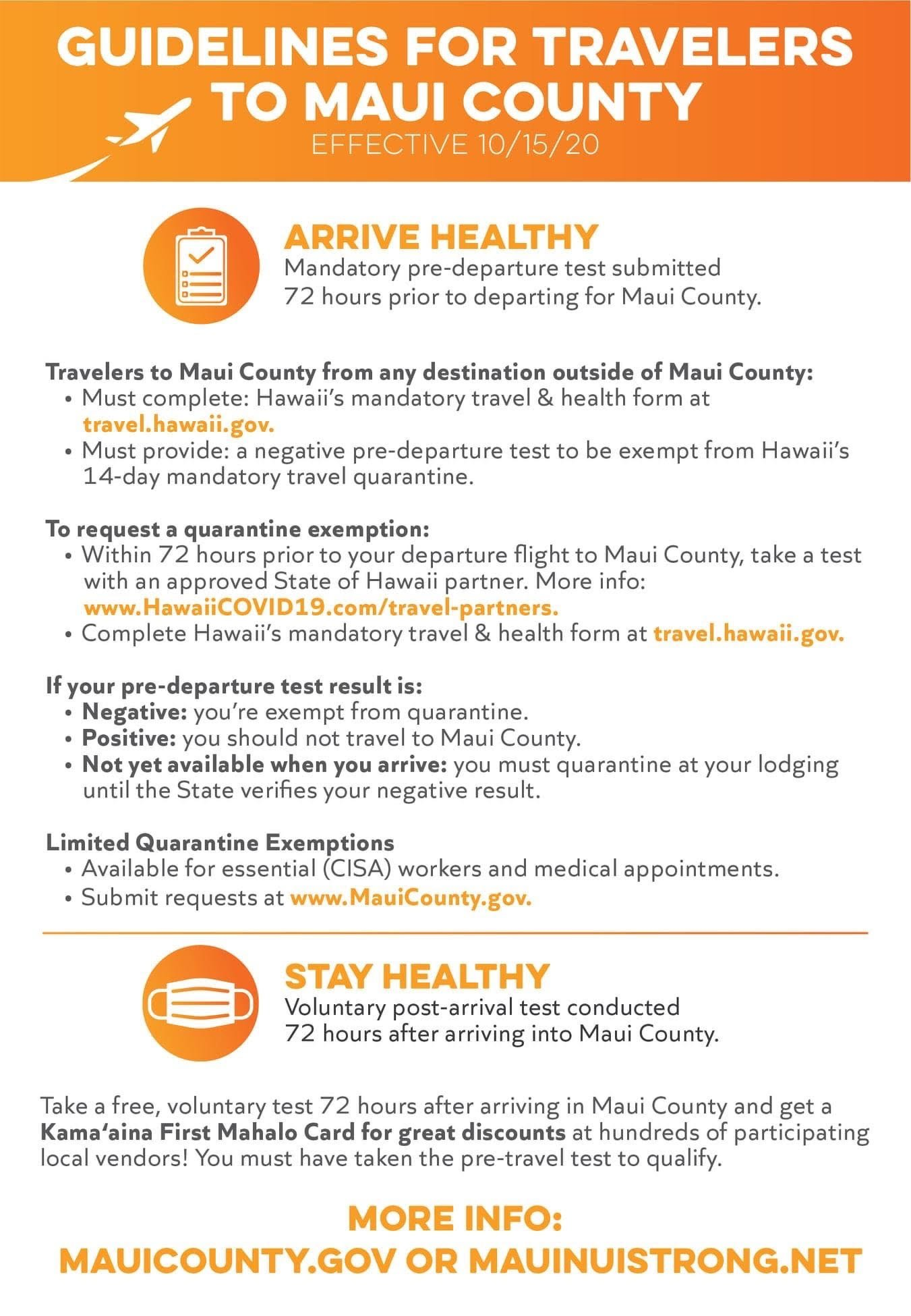 Guidelines for Traveling to Maui